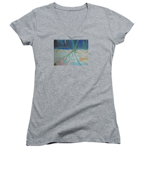 Women's V-Neck T-Shirt (Junior Cut) featuring the painting Winter Night Shadows by Francine Frank