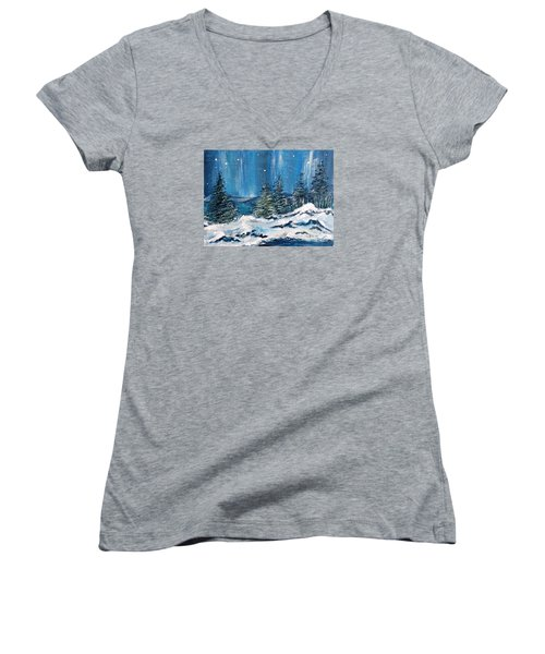 Winter Night Women's V-Neck T-Shirt