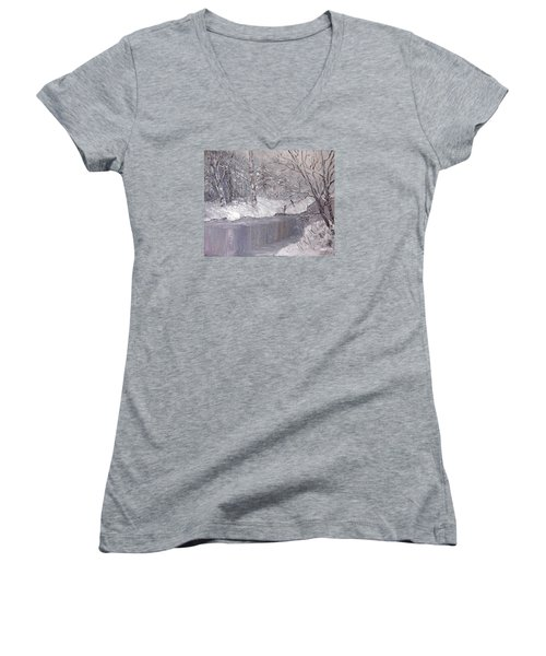 Women's V-Neck T-Shirt (Junior Cut) featuring the painting Winter by Nina Mitkova
