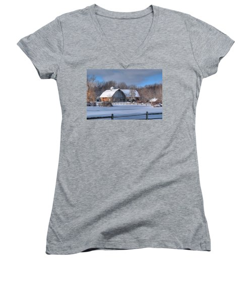 Women's V-Neck T-Shirt (Junior Cut) featuring the photograph Winter On The Farm 14586 by Guy Whiteley