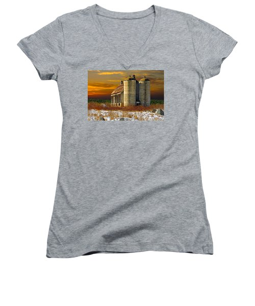 Women's V-Neck T-Shirt (Junior Cut) featuring the photograph Winter On The Farm by Judy  Johnson
