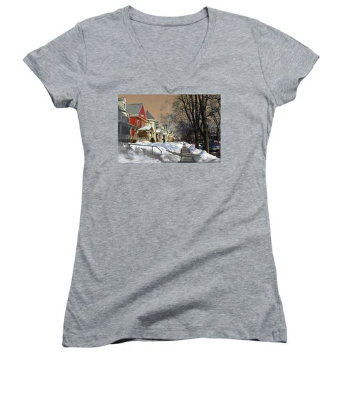 Women's V-Neck T-Shirt (Junior Cut) featuring the pyrography Winter Scenery  by Viola El