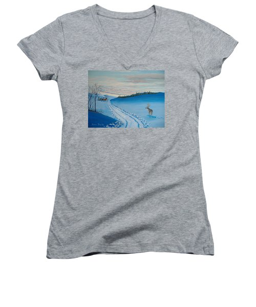 Winter Sentinel Women's V-Neck T-Shirt (Junior Cut) by Norm Starks