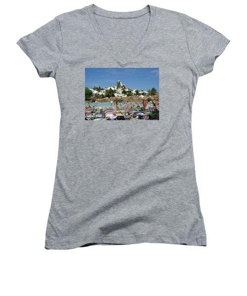 Women's V-Neck T-Shirt (Junior Cut) featuring the photograph Winter Shore Line by David Nicholls