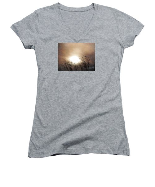Winter Solstice Women's V-Neck T-Shirt (Junior Cut) by Roselynne Broussard