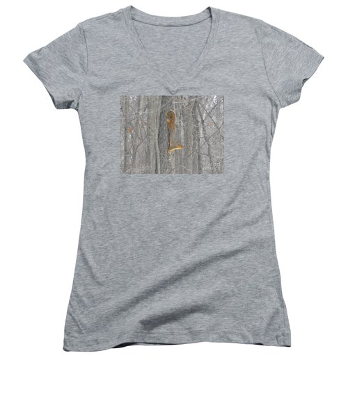 Winter Squirrel Women's V-Neck (Athletic Fit)