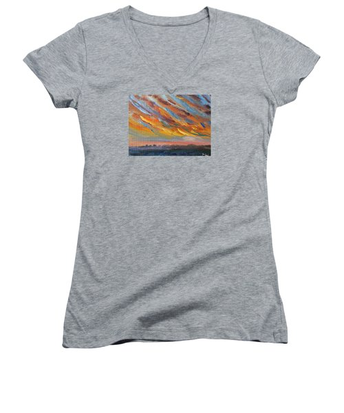Women's V-Neck T-Shirt (Junior Cut) featuring the painting Winter Sunrise Over Provincetown by Michael Helfen