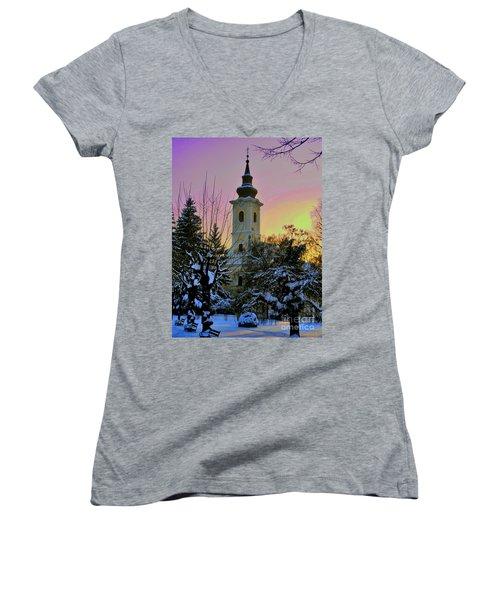 Winter Sunset Women's V-Neck T-Shirt (Junior Cut) by Nina Ficur Feenan