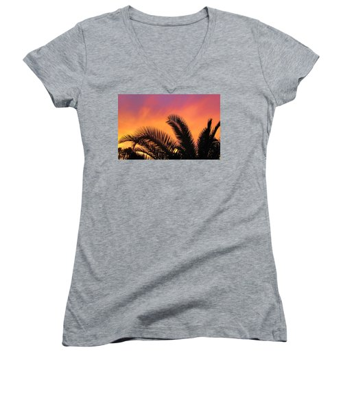 Women's V-Neck T-Shirt (Junior Cut) featuring the photograph Winter Sunset by Tammy Espino