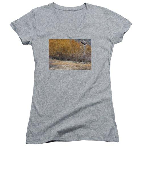 Winter Thaw Women's V-Neck T-Shirt (Junior Cut) by Ed Hall