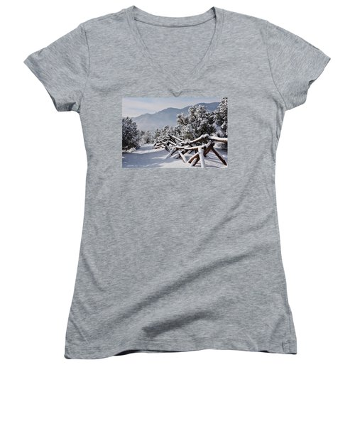 Winter Trail Beckons Women's V-Neck T-Shirt