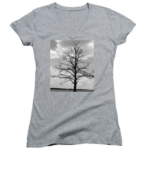 Women's V-Neck T-Shirt (Junior Cut) featuring the photograph Winter Tree by Andrea Anderegg