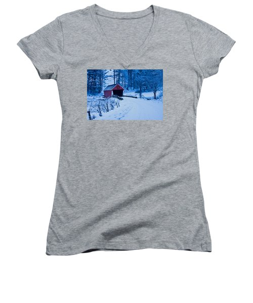 winter Vermont covered bridge Women's V-Neck