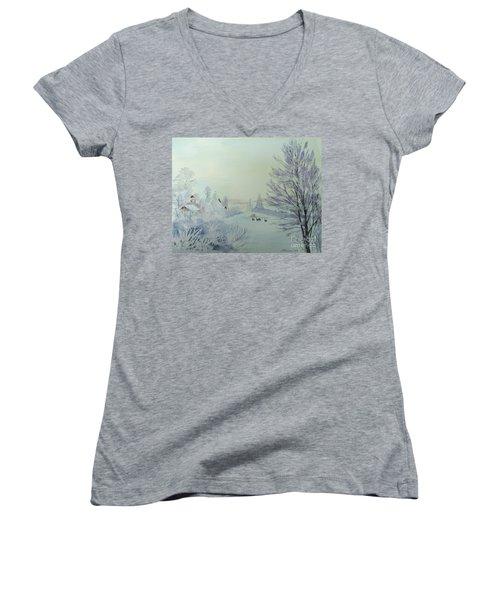 Winter Visitors Women's V-Neck T-Shirt (Junior Cut) by Martin Howard