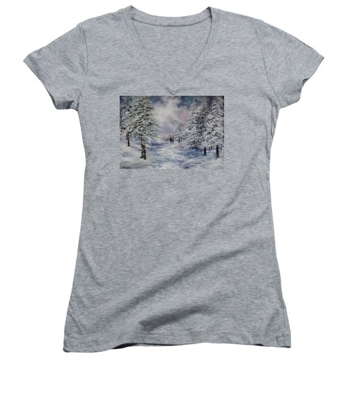 Women's V-Neck T-Shirt (Junior Cut) featuring the painting Winter Walk On Cannock Chase by Jean Walker