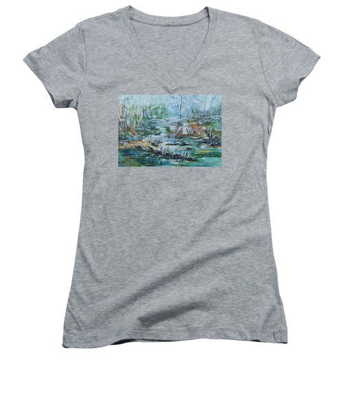 Women's V-Neck T-Shirt (Junior Cut) featuring the painting Winter Whispers On Catskill Creek by Ellen Levinson