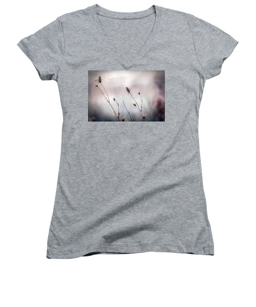 Women's V-Neck T-Shirt (Junior Cut) featuring the photograph Winter Wild Flowers by Sennie Pierson