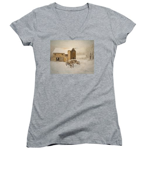 Women's V-Neck T-Shirt (Junior Cut) featuring the painting Winter Wine by Alan Lakin