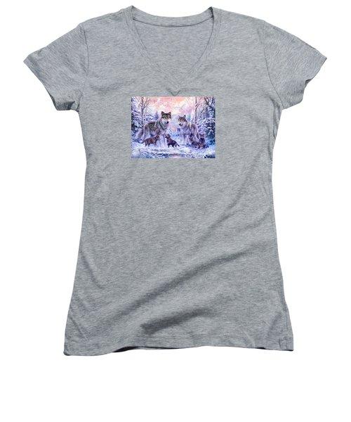 Winter Wolf Family  Women's V-Neck T-Shirt (Junior Cut) by Jan Patrik Krasny