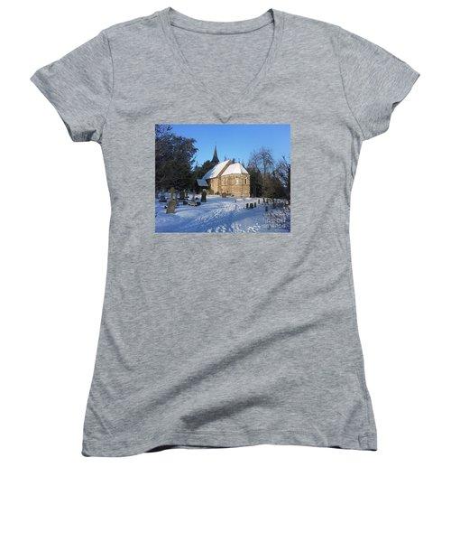 Women's V-Neck T-Shirt (Junior Cut) featuring the photograph Winter Worship by John Williams