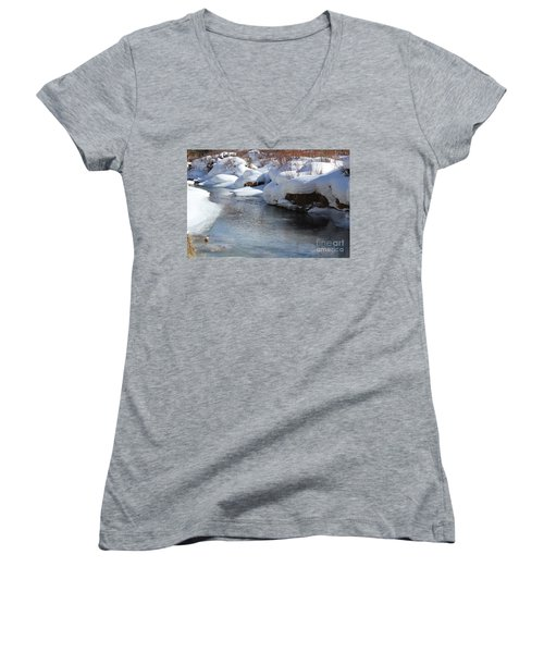 Winter's Blanket Women's V-Neck T-Shirt (Junior Cut) by Fiona Kennard