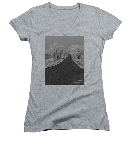 A Rural Winter's Road Women's V-Neck T-Shirt