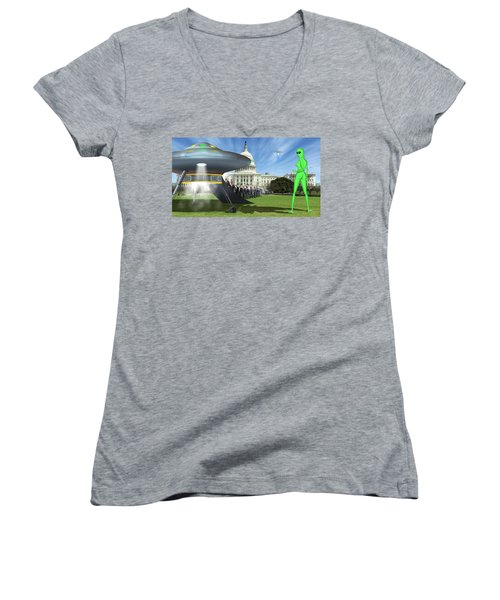 Wip - Washington Field Trip Women's V-Neck T-Shirt (Junior Cut) by Mike McGlothlen