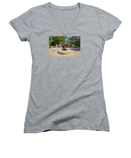 Women's V-Neck T-Shirt (Junior Cut) featuring the photograph Wisconsin State Firefighters Memorial 1 by Susan  McMenamin