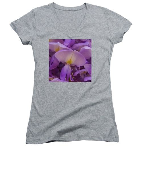 Wisteria Parasol Women's V-Neck T-Shirt (Junior Cut) by Claudia Goodell