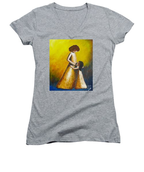 Women's V-Neck T-Shirt (Junior Cut) featuring the painting With Her by Jacqueline Athmann
