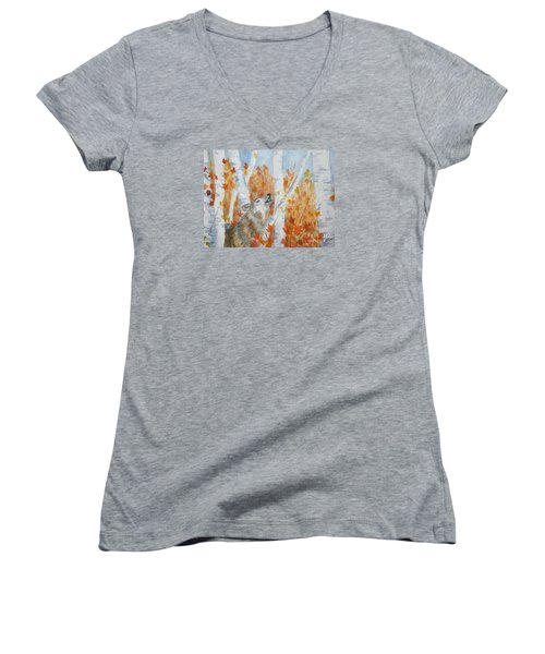 Women's V-Neck T-Shirt (Junior Cut) featuring the painting Wolf Call by Ellen Levinson