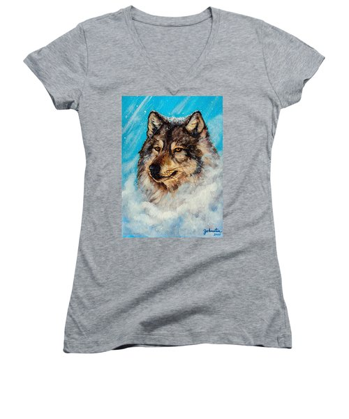 Women's V-Neck T-Shirt (Junior Cut) featuring the painting Wolf In A Snow Storm by Bob and Nadine Johnston