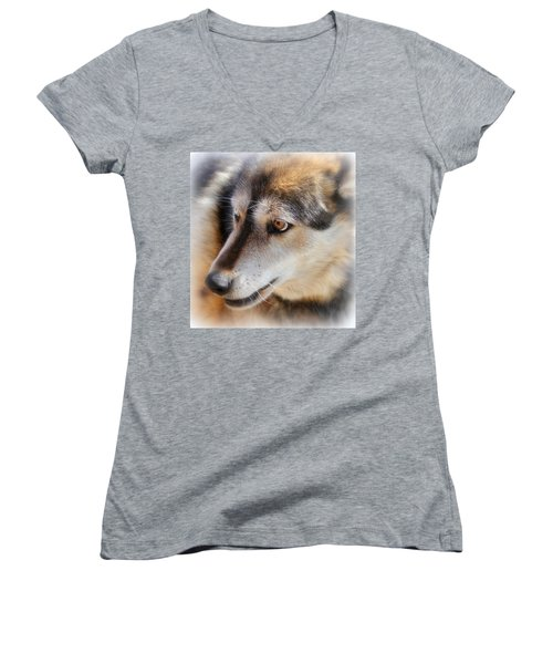 Wolf Spirit Women's V-Neck T-Shirt
