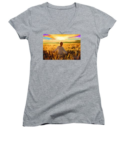 Woman In A Wheat Field Women's V-Neck T-Shirt (Junior Cut) by Tim Gilliland