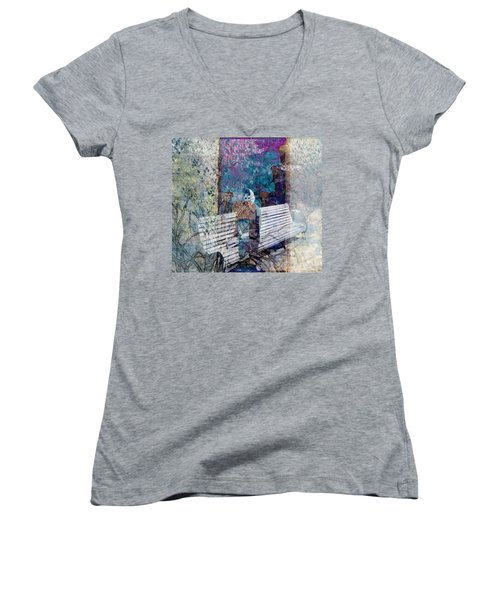 Women's V-Neck T-Shirt (Junior Cut) featuring the digital art Woman On A Bench by Cathy Anderson