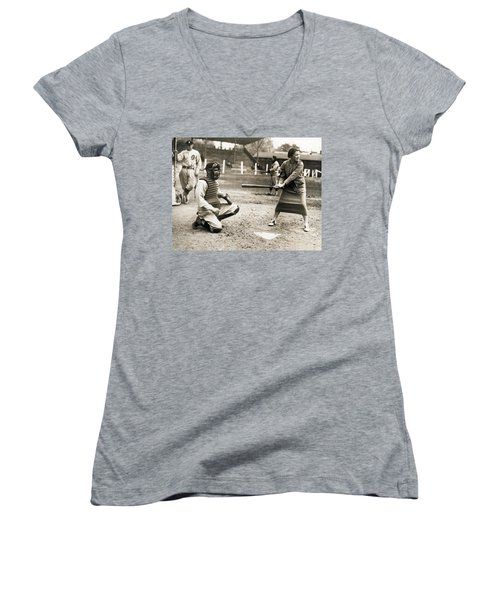 Woman Tennis Star At Bat Women's V-Neck T-Shirt