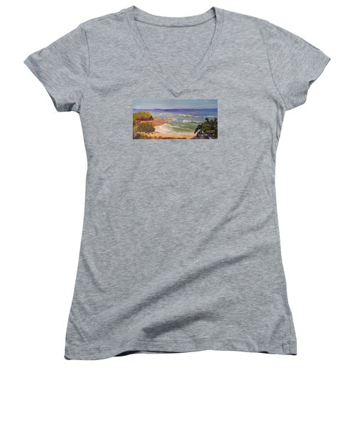 Women's V-Neck T-Shirt (Junior Cut) featuring the painting Wombarra Beach by Pamela  Meredith
