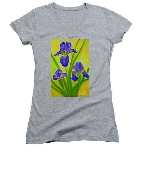 Wonderful Iris Flowers 3 Women's V-Neck
