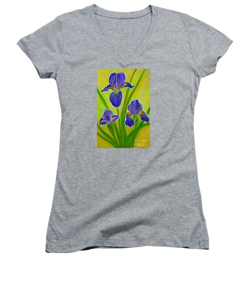 Wonderful Iris Flowers 3 Women's V-Neck T-Shirt (Junior Cut) by Oksana Semenchenko