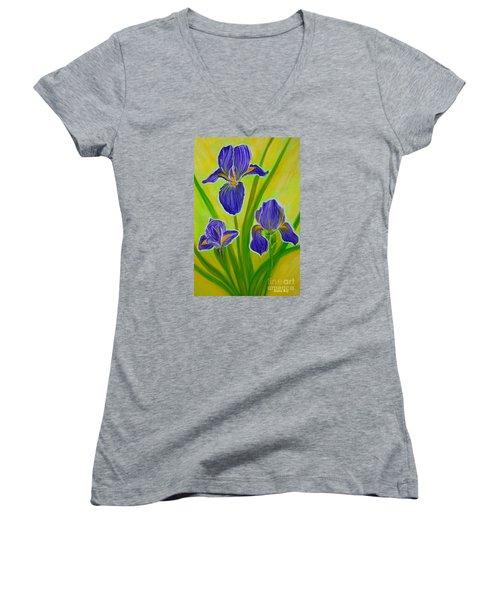 Wonderful Iris Flowers 3 Women's V-Neck T-Shirt (Junior Cut)