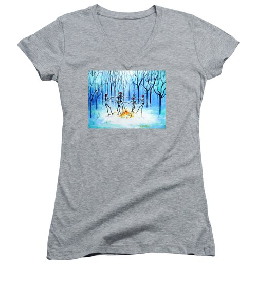 Women's V-Neck T-Shirt (Junior Cut) featuring the painting Wonderland Ring by Heather Calderon