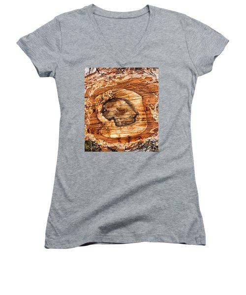 Wood Detail Women's V-Neck T-Shirt (Junior Cut) by Matthias Hauser
