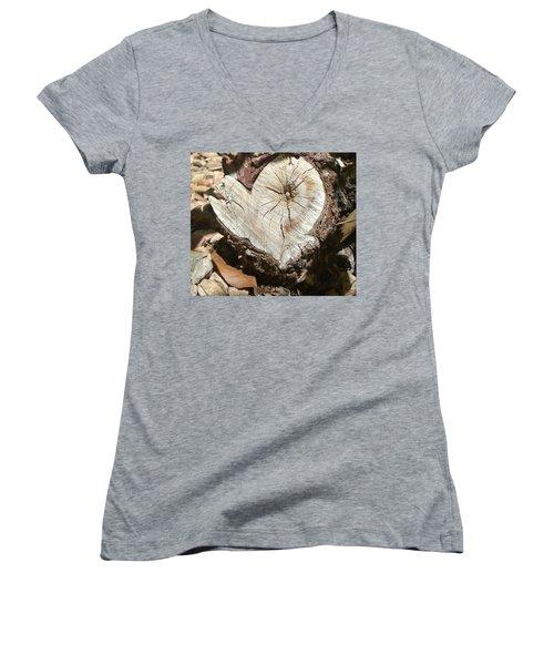 Wood Heart Women's V-Neck