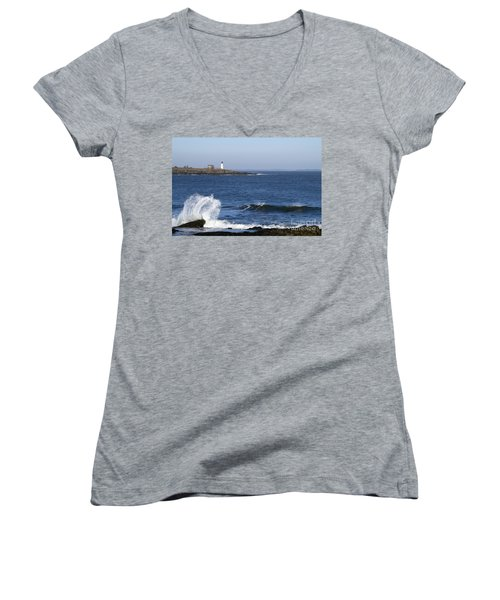 Wood Island Light Women's V-Neck T-Shirt