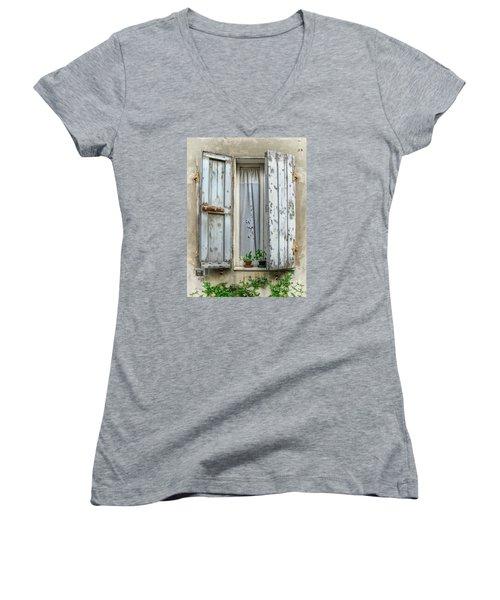 Wooden Shutters In Urbino Women's V-Neck T-Shirt (Junior Cut) by Jennie Breeze