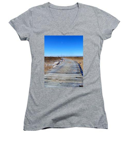 Women's V-Neck T-Shirt (Junior Cut) featuring the photograph Plum Island by Eunice Miller
