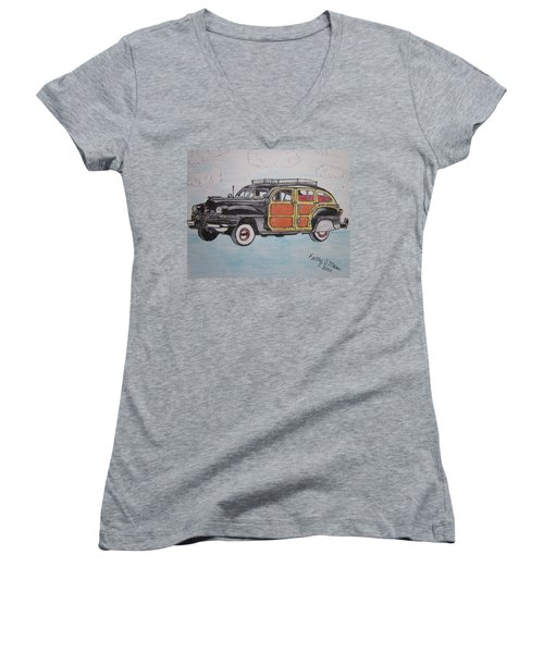 Women's V-Neck T-Shirt (Junior Cut) featuring the painting Woodie Station Wagon by Kathy Marrs Chandler