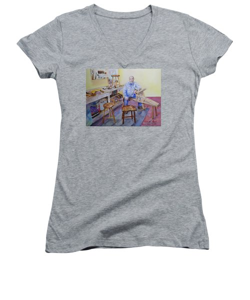 Woodworker Chair Maker Women's V-Neck T-Shirt (Junior Cut) by Anna Ruzsan