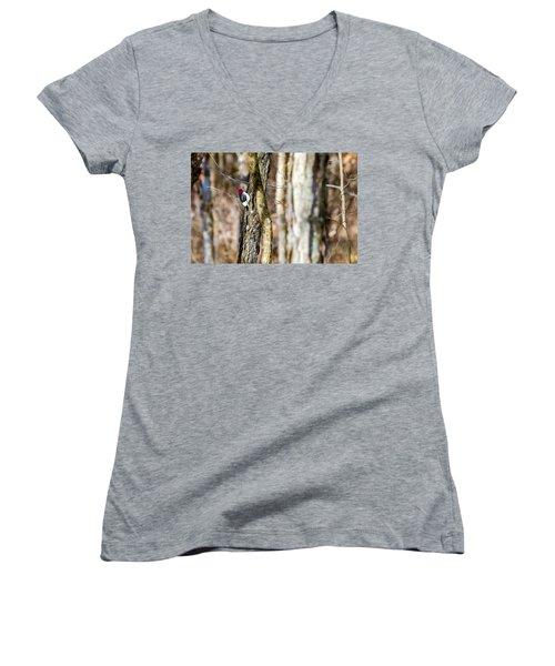 Women's V-Neck T-Shirt (Junior Cut) featuring the photograph Woody by Sennie Pierson