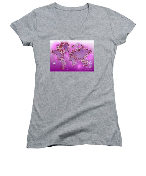 World Map Amuza In Pink And Purple Women's V-Neck T-Shirt